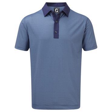 FootJoy Gents Stretch Lisle Basketweave Print Polo Shirt Blue - Twilight