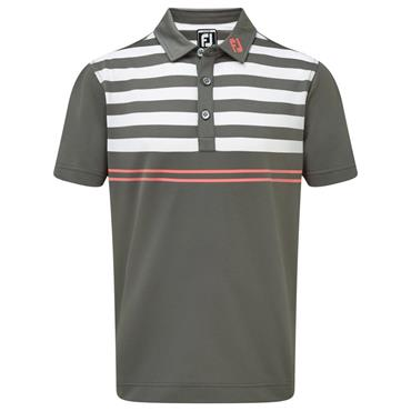 FootJoy Gents Stretch Pique with Graphic Stripes Polo Shirt Granite - White