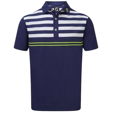 FootJoy Gents Stretch Pique With Graphic Styles Polo Shirt Twilight - White - Citrus