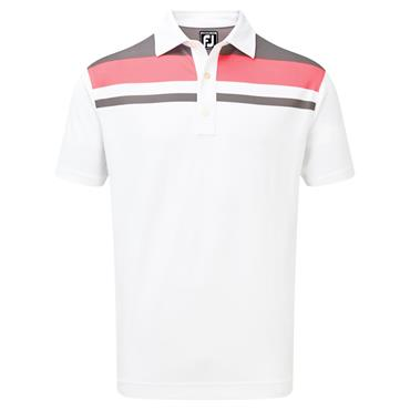 FootJoy Gents Smooth Pique Colour Block Yoke Polo Shirt White - Granite - Watermelon