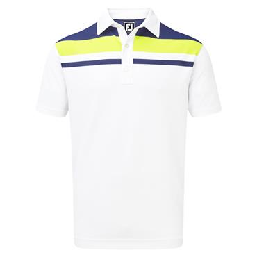 FootJoy Gents Smooth Pique Colour Block Yoke Polo Shirt White - Twilight - Citroen