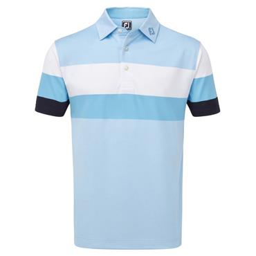 Footjoy Gents Enginnered Birdseye Pique Polo Shirt Blue - White - Mavy