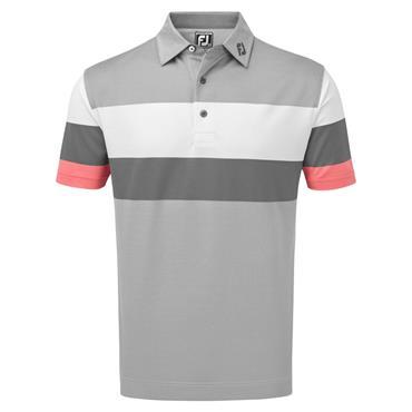 Footjoy Gents Enginnered Birdseye Pique Polo Shirt Granite - White - Watermelon