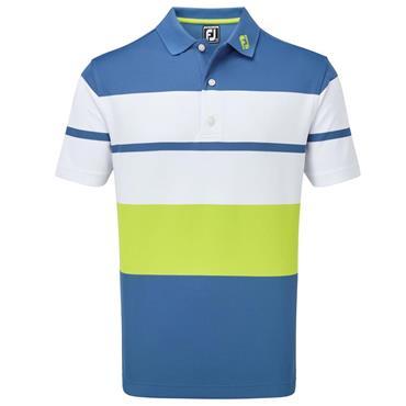 FootJoy Gents Colour Block Smooth Pique Polo Shirt Blue Marlin - White  - Citrus