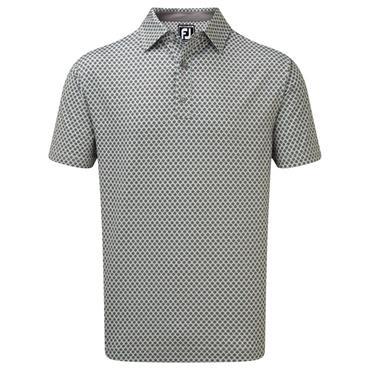 FootJoy Gents Stretch Lisle Foulard Print Polo Shirt Grey