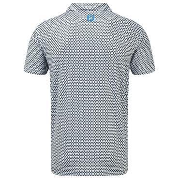 FootJoy Gents Stretch Lisle Foulard Print Polo Shirt White - Citrus - Blue