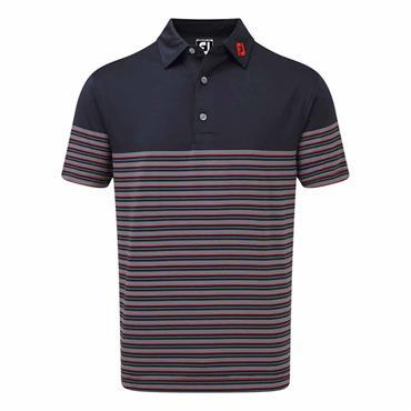 FootJoy Gents Lisle Pinstripe Polo Shirt Navy - Scarlet