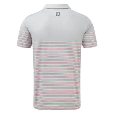 FootJoy Gents Stretch Lisle Multi Pinstripe Polo Shirt Grey - White