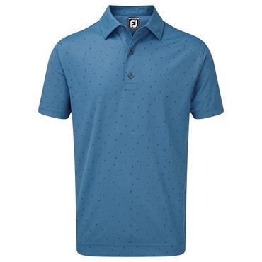 FootJoy Gents Smooth Pique with FJ Print Polo Shirt Blue Marlin - Twilight