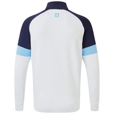 Footjoy Gents Jersey Knit Track Chill-Out Pullover White - Navy - Blue