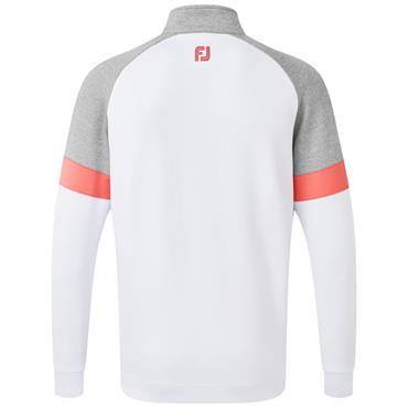 Footjoy Gents Jersey Knit Track Chill-Out Pullover White - Grey - Watermelon