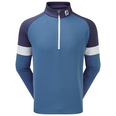 Footjoy Gents Jersey Knit Track Chill-Out Pullover Blue - Twilight - White