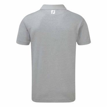 FootJoy Gents Stretch Pique Solid Rib Knit Polo Shirt Heather Grey