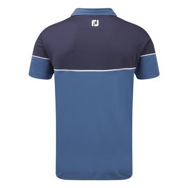 FootJoy Gents Colour Block Pique Polo Blue Marlin - Twilight - White
