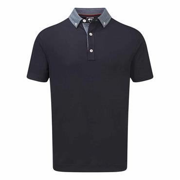 FootJoy Gents Colour Block Pique Polo Shirt Navy - White