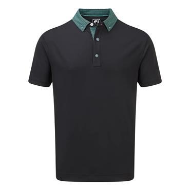 FootJoy Gents Stretch Piq Buttondown Collar Polo Black - Aqua