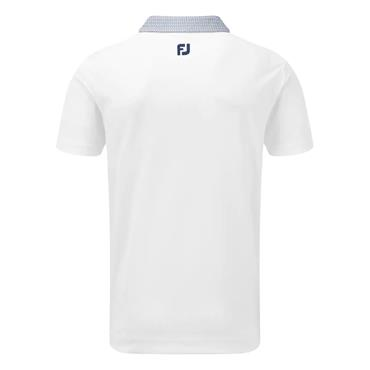 FootJoy Gents Stretch Piq Buttondown Collar Polo White - Twilight