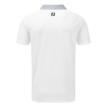FootJoy Gents Stretch Piq Buttondown Collar Polo White - Twilight