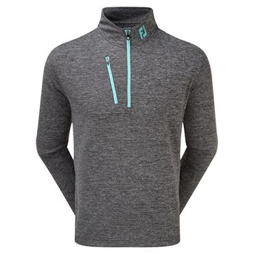 FootJoy Gents Heather Pinstripe Chill-Out Pullover Black - Aqua