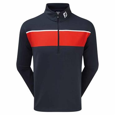 FootJoy Gents Jersey Chest Stripe Chillout Pullover Navy - Red - White