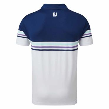 FootJoy Gents Pique Colour Block Polo Shirt Small Navy - White - Scarlet