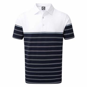 FootJoy Gents Stretch Lisle Colour Block Stripe Polo Shirt Navy - White