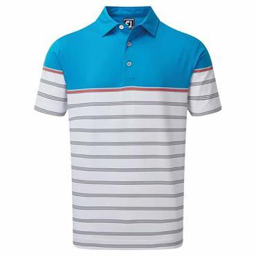 FootJoy Gents Lisle Colour Block Polo Shirt White - Light Blue