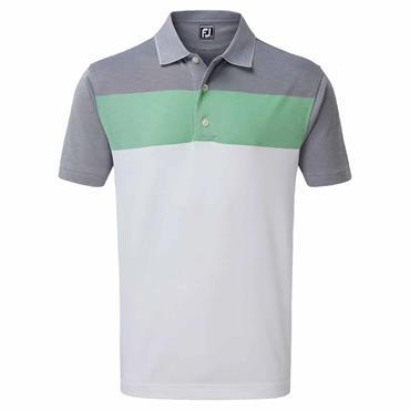FootJoy Gents Birdseye Jacquard Colour Block Polo Shirt White - Green