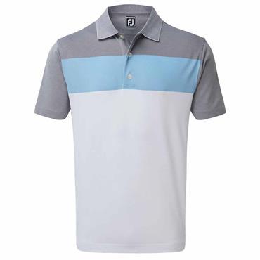 FootJoy Gents Birdseye Jacquard Polo Shirt White - Light Blue - Grey