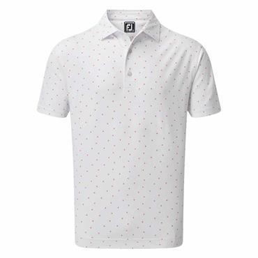 FootJoy Gents Smooth Pique with FJ Print Polo Shirt White - Red