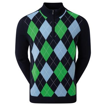 FootJoy Gents Wool Blend 1/2 Zip Lined Pullover Argyle Navy - Sky - Kelly - White