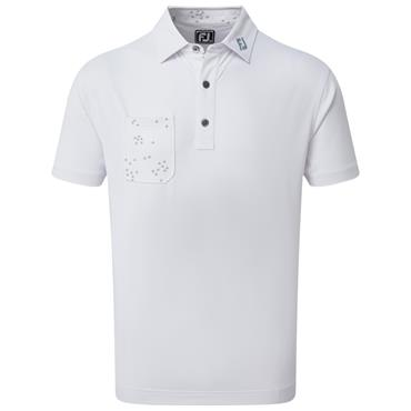 FootJoy Gents Super Stretch Baby Pique with Flock of Birds Print Trim Polo Shirt White 90291