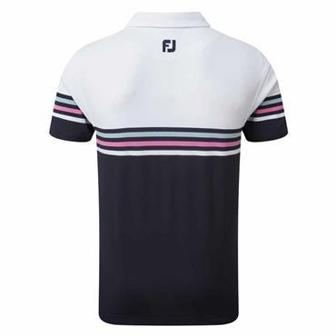 FootJoy Gents Strech Pique Colour Block Polo Shirt White - Navy