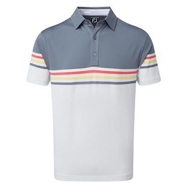 FootJoy Gents Stretch Pique Colour Block Polo Shirt Slate