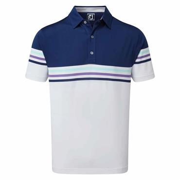FootJoy Gents Colour Block Pique Shirt Blue - White - Mint