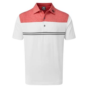 FootJoy Gents Heather Colour Block Lisle Performance Polo Shirt Red - White - Charcoal