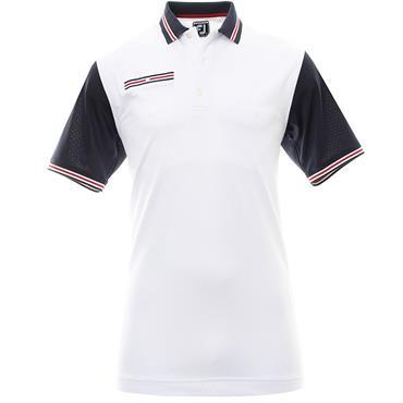 FootJoy Pique Colourblock Polo Shirt White - Navy - Red