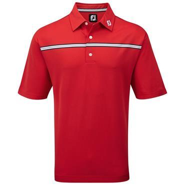 FootJoy Pique Chest Stripe Polo Shirt Poppy