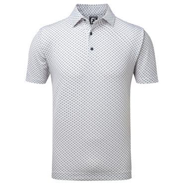 FootJoy Gents Lisle Tie Print Polo Shirt White - Charcoal