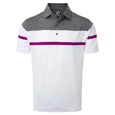 FootJoy Gents Lisle Spacedye Polo Shirt White - Indigo