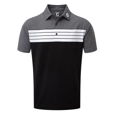 FootJoy Pique Colorblock Polo Shirt Black - White - Charcoal