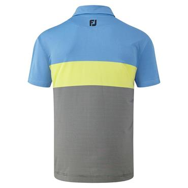 FootJoy Gents Engineered End on End Striped Lisle Polo Black - Yellow