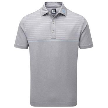 FootJoy Gents Lisle Engineered Pinstripe Polo Shirt Heather Grey