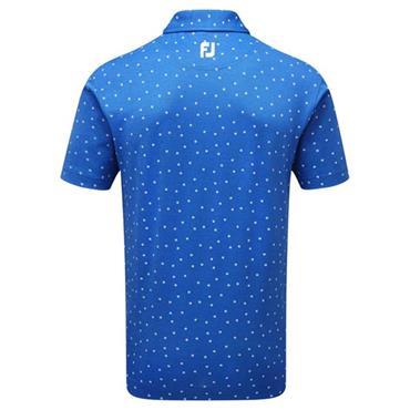 FootJoy Gents Stretch Pique Flower Print Polo Shirt Cobalt - White
