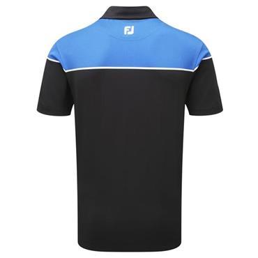 FootJoy Gents Colour Block Stretch Pique Polo Shirt Black - White - Cobalt