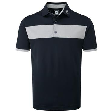 FootJoy Gents Pique Stripe Polo Shirt Navy