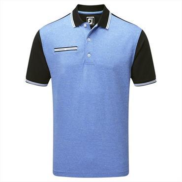 FootJoy Gents Stretch Pique Front Colour Block Polo Shirt Black - Cobalt
