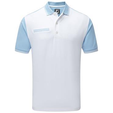 FootJoy Gents Pique Front Colour Block Polo Shirt Blue - White