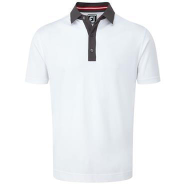 FootJoy Gents Smooth Pique Polo Shirt White - Charcoal - Red
