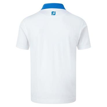 FootJoy Gents Smooth Pique with Pin Dot Print Placket Polo Shirt White - Cobalt
